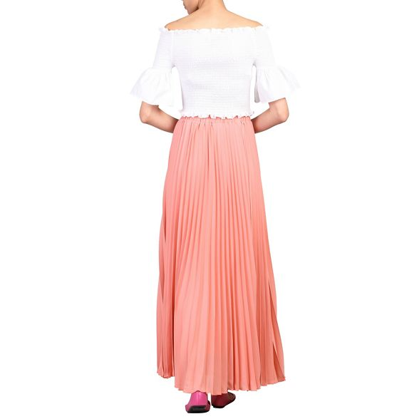 Jolie pleated Moi Peach crepe maxi skirt vwvFx0qr