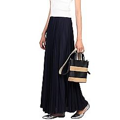 Jolie Moi - Navy crepe pleated maxi skirt