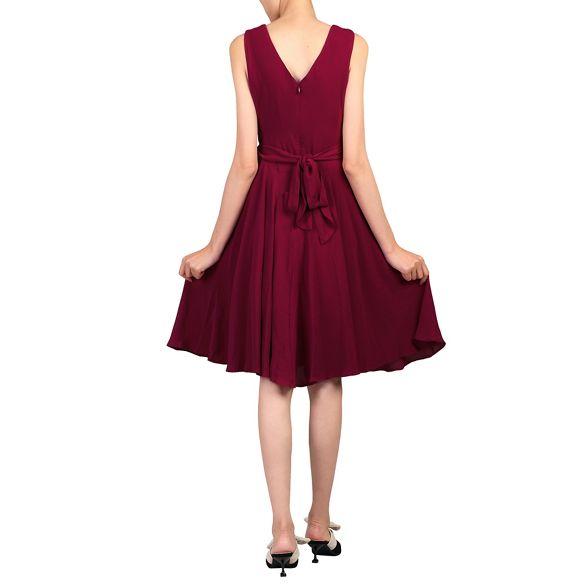 dress belted Moi Jolie tie Wine skater 4Sqx16w
