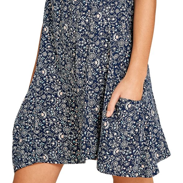 Navy print swing floral dress Apricot gnYawqXxq