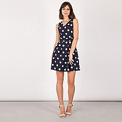 Tenki - Blue v-neck polka dot skater dress