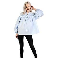 Amalie & Amber - Light blue balloon sleeve shirt