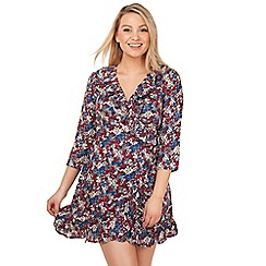 Arrae - Red ditsy floral wrap dress