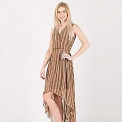 Tenki - Brown v-neck stripy high low dress