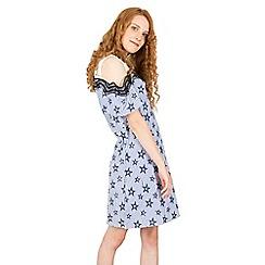 Tenki - Blue cold shoulder star print dress
