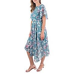 MISSTRUTH - Multicoloured angel sleeve hanky hem midi dress