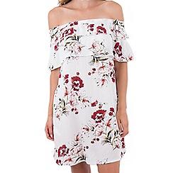 MISSTRUTH - Multicoloured floral double ruffle bardot dress