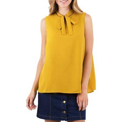 820b6af052c30 MISSTRUTH Mustard sleeveless front tie top