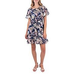 MISSTRUTH - Multicoloured floral angel sleeve ruffle hem dress