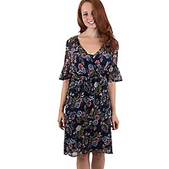 MISSTRUTH - Multicoloured floral chiffon wrap front midi dress