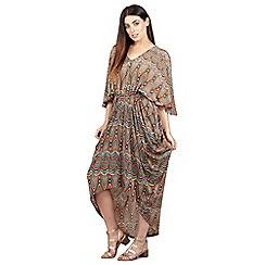 Izabel London - Orange elasticated waist asymmetric dress