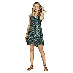 Apricot - Green floral print ruffle trim dress