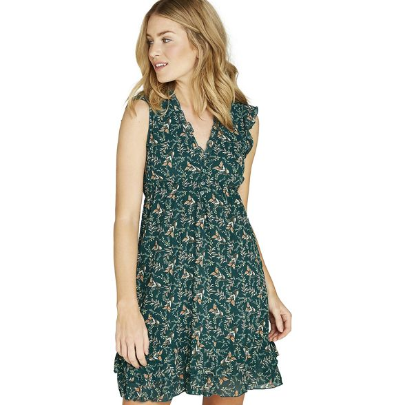 trim dress ruffle floral Apricot print Green XIBxIqf1
