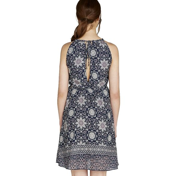 tile dress Navy halter print Apricot RvwqWxZU55