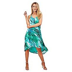 Rage - Green dipped hem splash dress