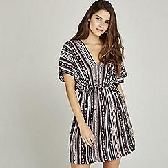 Apricot - Black folk print elasticated waist dress