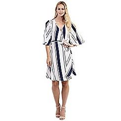 Izabel London - Pink ruffle sleeve striped wrap dress