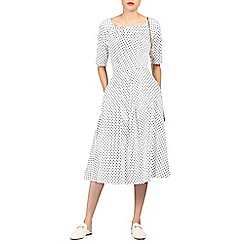 Jolie Moi - White half sleeve swing dress