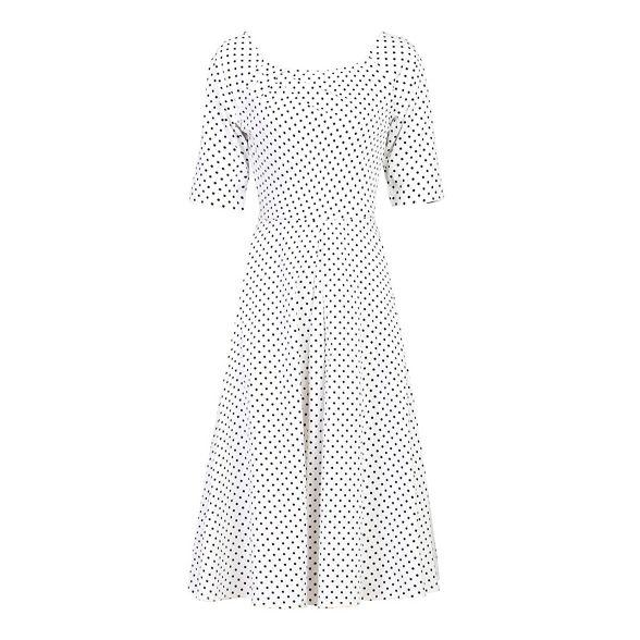 Jolie Moi sleeve swing White dress half ZZdwRnqr