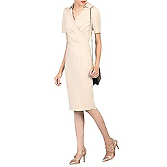 Jolie Moi - Beige half sleeve cross front dress