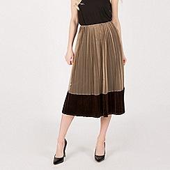 Anna Field - Brown tulle velvet pleated midi skirt