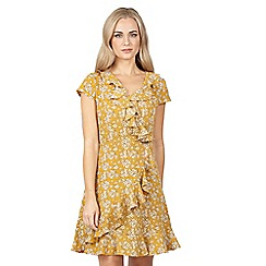 Izabel London - Mustard floral print wrap dress