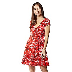 Izabel London - Red floral cap sleeve frill wrap dress