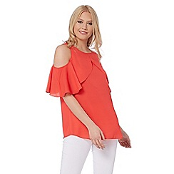 Roman Originals - Red frill cold shoulder top