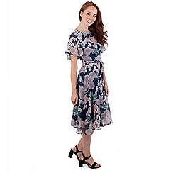 MISSTRUTH - Multicoloured floral chiffon angel sleeve dress