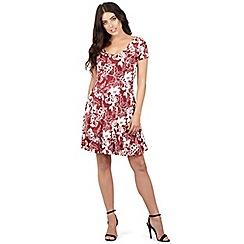 Izabel London - Red floral print skater dress