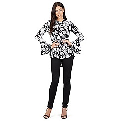 7a55d13d81eba Izabel London - Black floral print peplum top
