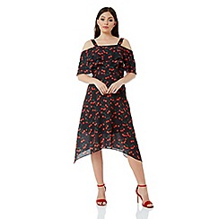 Roman Originals - Red cherry hanky hem dress