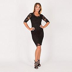 Feverfish - Black lace scallop bodycon dress