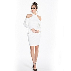 Rage - White cold shoulder bodycon dress