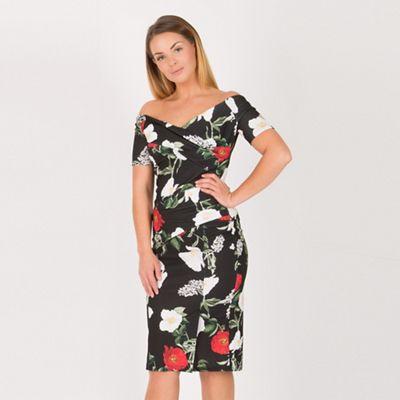 349cf16c21d03 Feverfish Black rose print bardot dress