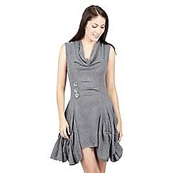 Izabel London - Light grey handkerchief hem dress with lace sides