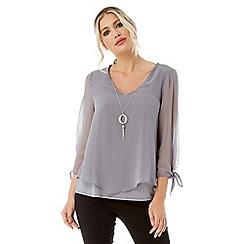 Roman Originals - Grey necklace trim chiffon top