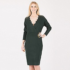 Anna Field - Dark green scallop overlap dress