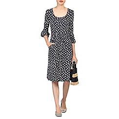 Jolie Moi - Black print bell sleeve viscose dress