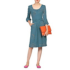 Jolie Moi - Blue print bell sleeve viscose dress