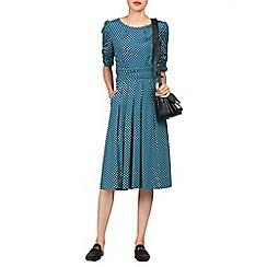 Jolie Moi - Blue print ruched half sleeve dress
