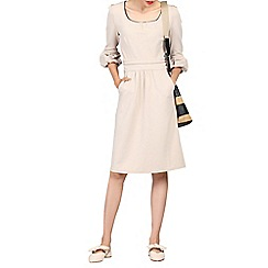 Jolie Moi - Beige bell sleeve boat neck dress