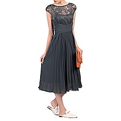 Jolie Moi - Dark grey lace bodice pleated dress