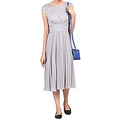Jolie Moi - Grey lace bodice pleated dress