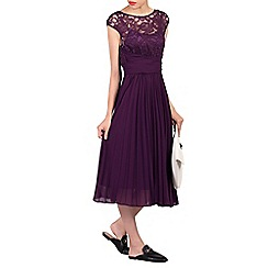 Jolie Moi - Dark purple lace bodice pleated dress
