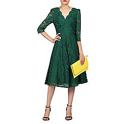 Jolie Moi - Green 3/4 sleeved lace prom dress