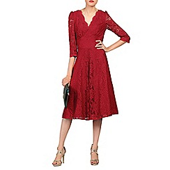 Jolie Moi - Red 3/4 sleeved lace prom dress
