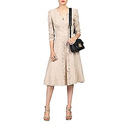 Jolie Moi - Grey 3/4 sleeved lace prom dress