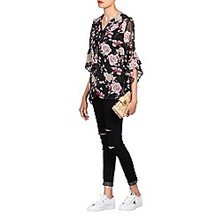 Jolie Moi - Black flare sleeve frilly blouse