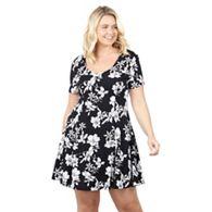 0507965416a Izabel London Curve Black floral print skater dress